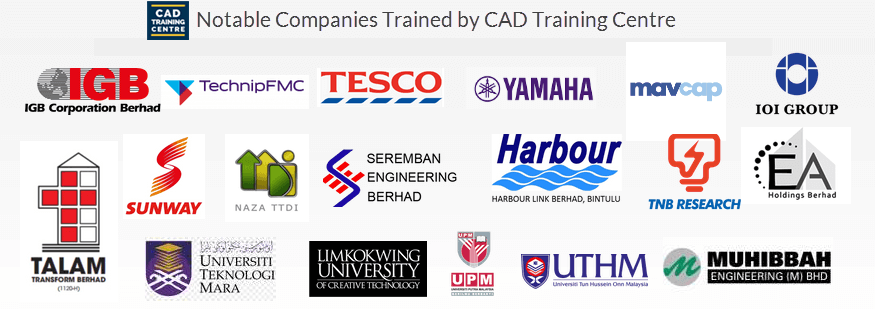 past autocad in-house and corporate training clients